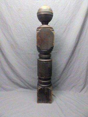 Antique Decorative Turned Wood Cherry Newel Post Old Vtg Staircase 42x7 657-17P