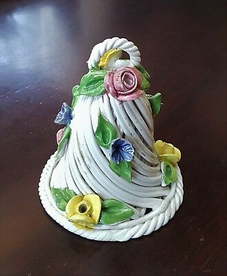 Vintage Capodimonte Woven Ceramic Bell Applied Flowers Italy