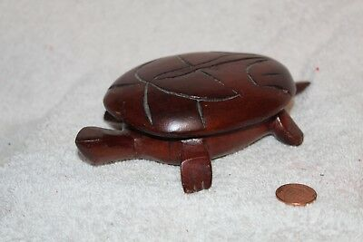 Hand Carved Solid Wood Turtle Trinket Box Jewelry 6 1/4""