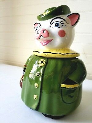 Miss Winnie Pig Shawnee Cookie Jar M1957 1940's Green Coat & Hat, a Crack & Chip