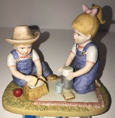 "Home Interiors HOMCO Denim Days Collection ""THE PICNIC"" Figurine w/TAG  #15352"
