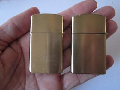 2X Vintage 1970's Ldl Supreme Slim Windproof Gold Tone Lighters W/boxes & Papers
