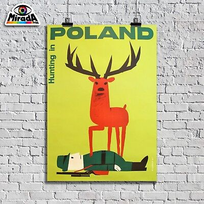 POSTER VINTAGE POLAND HUNTING IN CACCIA IN TRAVEL & ferrovie TOPQUALITY GRAPHICS