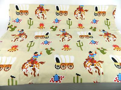 Vintage Dan River Cowboy Bandana Western Twin Set Flat Fitted Sheets Pillowcase