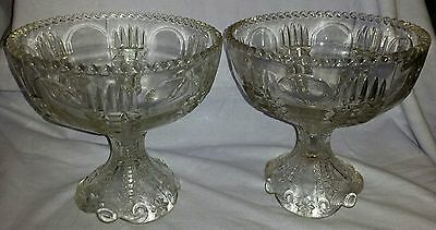 Rare Pair Antique 19Th Century Eapg Large Mantle Compotes Torch Pattern