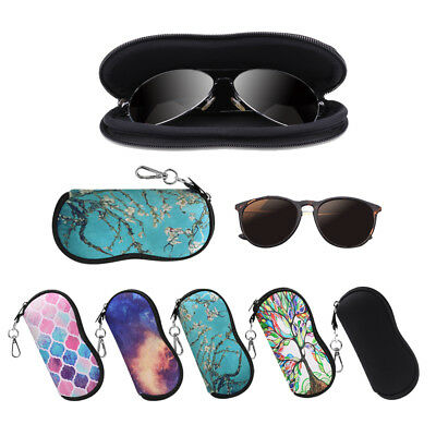 Portable Glasses Case with Carabiner Hook Eyeglasses Sleeve Pouch Travel Bag
