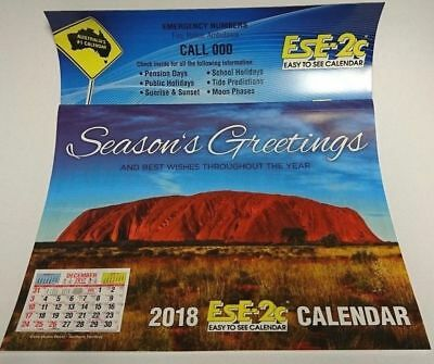 2018 EsE-2C (Easy to See) Magnetic Calendar A5 21 x 22.5cm,  Postage Included
