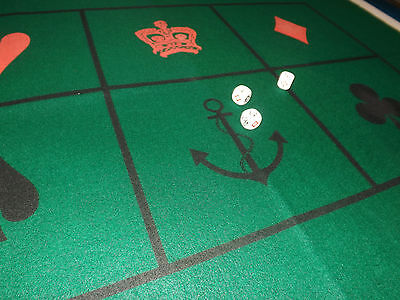 "Crown & Anchor /Chuck-a-luck Dice Set and Felt Mat 24"" x 36"" Gambling Party Game"