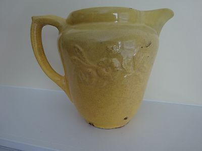Antique Yellow French Country Style Pitcher with Raised Embossed Flower Details