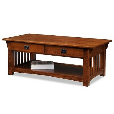 HIGH END SOLID OAK COFFEE TABLE Two Drawer Slated Sides Bottom Shelf Remote Keep