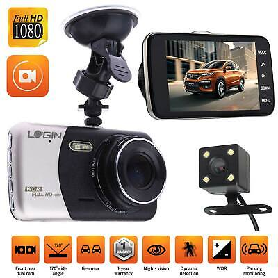 "HD 1080P Dual Lens Car Van Dash Cam DVR Recorder 4"" LCD With Rear Video Camera"