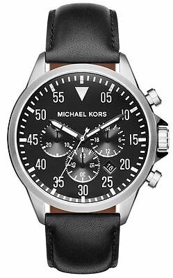 5349b3815604 Michael Kors Gage Mens Chronograph Watch Black Leather Strap Black Face  MK8442