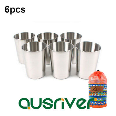 6Pcs 300ML Outdoor Camping Stainless Steel Cup Picnic Wine Beer Coffee Mug
