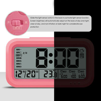 Rechargeable Digital Snooze LED Alarm Clock Backlight Time Calendar Temperature