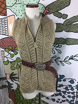 Vintage Woolrich Knit Crochet Womens Boho Sweater Brown Vest Medium EUC