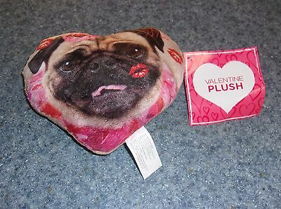 Brand New Fawn PUG Stuffed Heart Miniature Pillow For Dog Rescue Charity