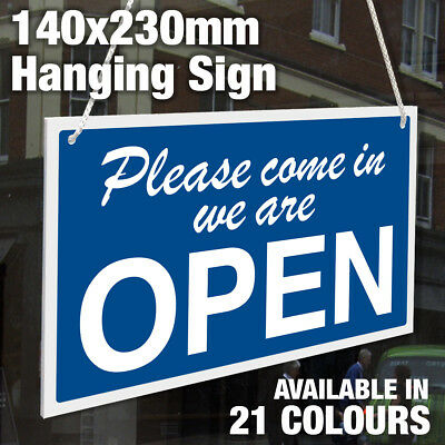 Open And Closed Double Sided 3Mm Rigid Hanging Sign, Shop Window - 21 Colours