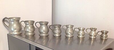 Georgian & Victorian Set Of 8 Pot Belly Measures Gaskell Chambers