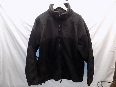 US Military Extra Large PolarTec Cold Weather Fleece Jacket Coat Black