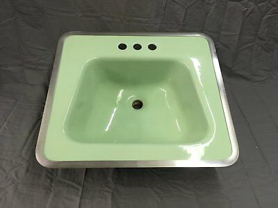 Vtg Drop In Jadeite Green Porcelain Ceramic Bathroom Sink Old Lavatory 808-17E