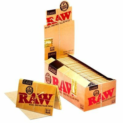 RAW Classic 1 1/2 Rolling Paper - Full Box 24 PACKS - Cigarette Papers 1.5