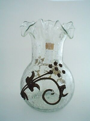 Antique Crackle Glass Vase with Gold Decorations