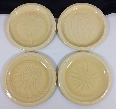 "4 Franciscan Sea Sculptures SAND Dollar NAUTILUS Conch URCHIN 9 1/8"" LUNCH Plate"