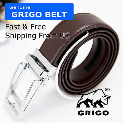 Genuine Leather Men's Automatic Click Ratchet Buckle Waist Strap Comfort Belt