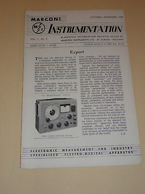 marconi instrumentation electronic telecommunication vol.1 n°3 1947