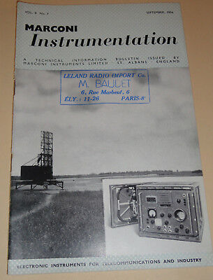 marconi instrumentation electronic telecommunication vol.4 n°7 1954