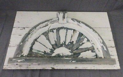 Antique Architectural Sunburst Fan Shabby Pediment Vtg Chic Arch 36x22 671-17P
