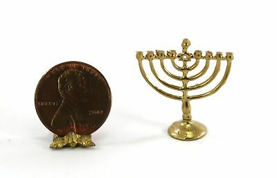 Dollhouse Miniature 1:12 Gold Jewish Menorah