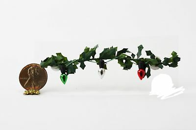 Dollhouse Miniature 1:12 Scale Christmas Lights on Holly Garland