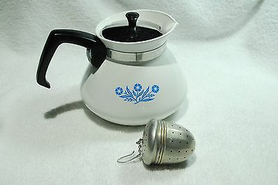 White/Blue Corning Ware Cornflower 6 Cup Coffee Teapot with Vintage Tea Strainer