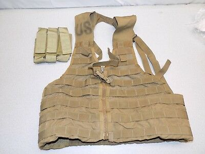 US Army MOLLE II FLC Fighting Load Carrier Vest Coyote Tan Tactical LBV w Pouch