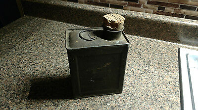 Vintage US Army Military Canister Corked Tin Canteen Olive Drab Green Antique