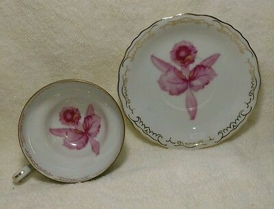 Vintage Jyoto Pink Iris Footed Cup and Saucer - Occupied Japan
