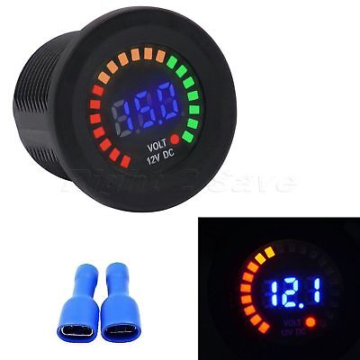 12V Motorcycle Boat Auto Round Digital Voltmeter Voltage LED Display Penal PC