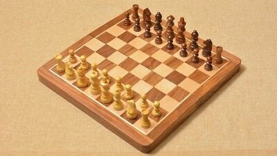 Hand Crafted Golden Rose Wood Travelling  Chess Set 30cm X 30cm