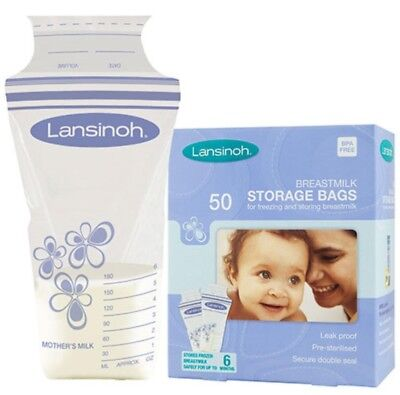 Baby Breast Milk Storage Bags Lansinoh 50 Pcs Double Pre Sterilized Zipper UK