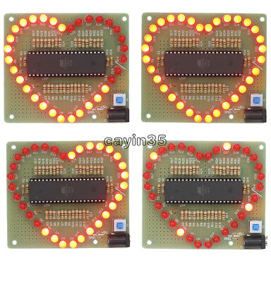 DIY Kits Love Heart shaped LED Red Light Water Electronic Flashing Suite Gift UK