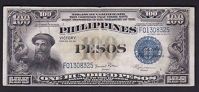 US Philippines Treasury Cert. 100 Pesos Victory series CB ovpt. SN# F01308325