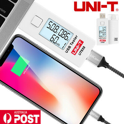 UNI-T UT658 Digital LCD USB Tester Detector Voltage Current Capacity Meter AU