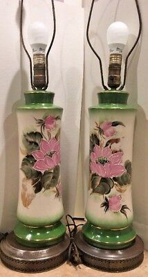 Vintage Matching Pair of Porcelain Brass Lamps Hand Painted Switch