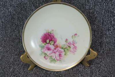 """Germany Three Crown China #35 6.25"""" Wide Porcelain Plate Hand Painted Floral"""