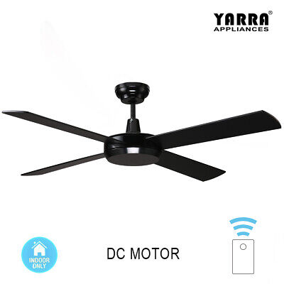 52 inch 130CM Morden DC Ceiling Fan 4 Blade W/ LED Light Kit Remote White Silver