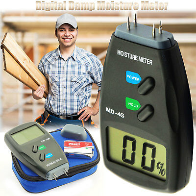 Digital LCD Damp Moisture Meter Detector Tester Wood Timber Plaster Sensor