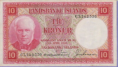 Iceland 10 Kronur Banknote 15.4.1928 Choice Extra Fine Condition Cat#33-A-2550
