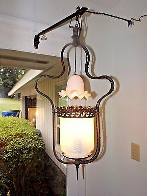 Ant. 1800s Victorian Vaseline Swirl Glass Porch Entryway Gas Lamp Light Fixture
