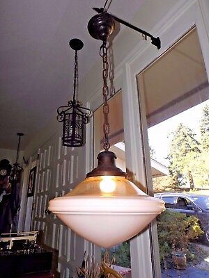 Antique 1920s Art Deco School Diner Bar Restaurant Pendant Ceiling Light Fixture
